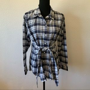 J. Crew Plaid Tie Front Top